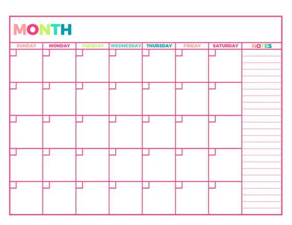 Crazy image inside printable monthly planner