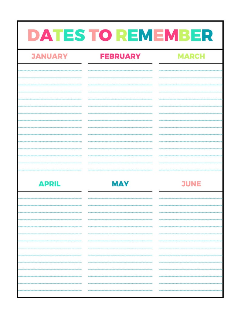 photo regarding Printable Dates referred to as Vivid Dates Towards Try to remember Printable Web page, Letter Sizing PDF, Household Binder, Planner, Fast Obtain