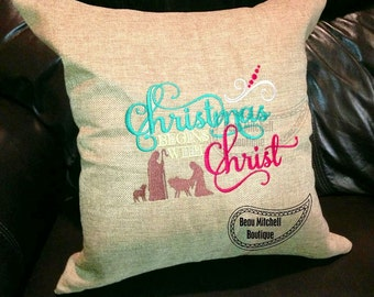 Christmas begins with Christ embroidery design
