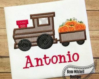 Train with Pumpkins applique embroidery design