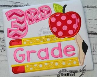 3rd grade pencil apple applique