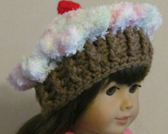 """Hand Crocheted Cupcake Hat ~ Fits 18"""" doll ~ White top variaged with green and pink/medium brown bottom"""