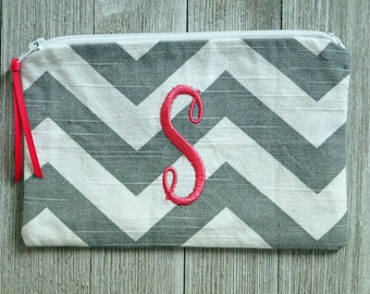 "Monogrammed Cosmetic Bag -  Zippered Pouch -  Make Up Bag - Hot Pink ""S"""