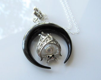 Sterling silver bat necklace - fresh water pearl, black horn, crescent moon, gothic necklaces for women