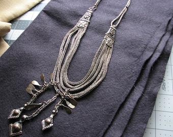 Tribal necklace boho   bronze silver   bohemian   handwoven   multi strand   belly dance   nepal necklace   repousse   chain bib