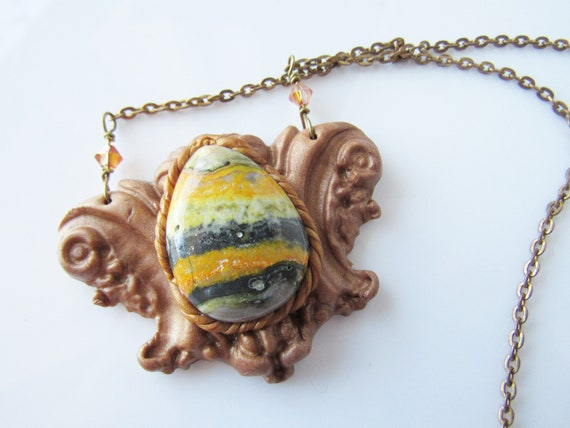 copper color Bumble bee jasper necklace yellow stone statement necklace gold clay gemstone pendant