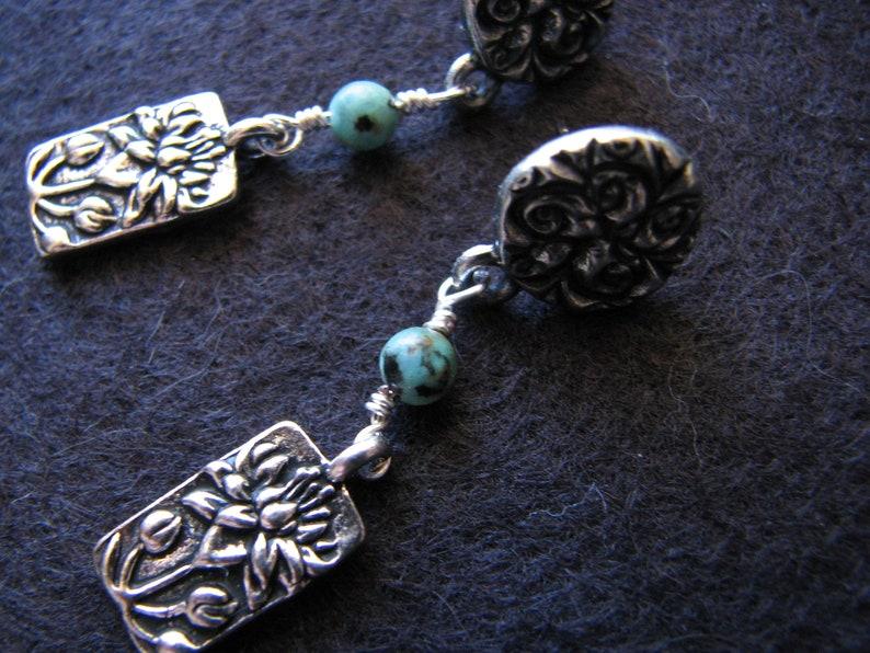 floral stud earrings Lotus flower earrings turquoise post earrings art nouveau silver pewter