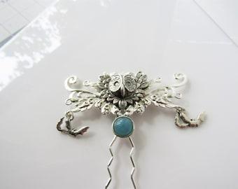 Owl hair fork - bat hair pin, gothic wedding, hair pin women, blue hair fork, quartz hair piece
