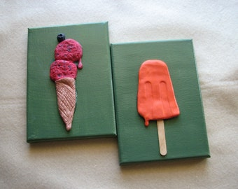 3d art wall decor - ice cream, summer art, wall art sculpture, colorful, fun gift