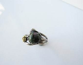 Ruby zoisite ring - womens bohemian woodland ring, flower and branch, adjustable, sterling silver
