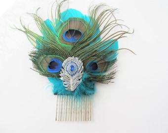Blue hair comb wedding - bridal hairpiece, crystal rhinestone, silver fascinator, statement bridal