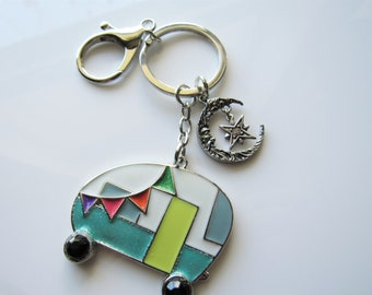 Camper keychain - travel key ring, moon and stars, gift ideas
