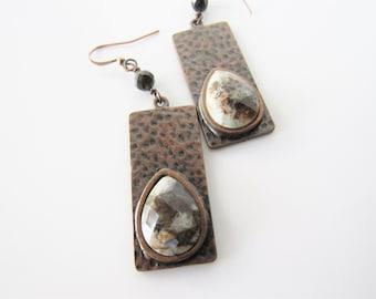 Wild horse magnesite earrings - bohemian earrings for women, gold obsidian, gemstone dangle