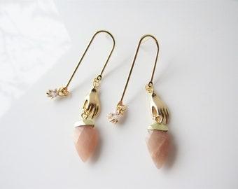 Gold sunstone earrings - hand stud earrings, celestial, women, arch earrings