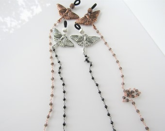 Moth eyeglass chain - beaded gemstone, smoky topaz crystal, gothic, womens eyewear, men
