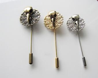 Goth lapel pin - crow skull, raven brooch, hat pin clasp, filigree stick pin