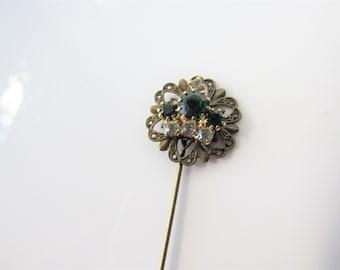 Hat pin for women- stick pin, lapel pin men, rhinestone crown woman, green wedding