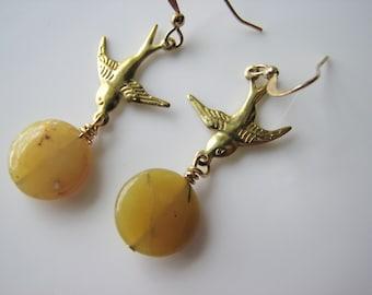 Yellow opal earrings - bohemian dangle, swallow bird, stone dangle