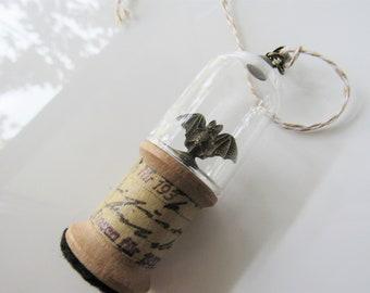 Bat ornament - window hanging, suncatchers for windows, miniature cloche, spool ornament decor