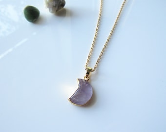 Amethyst moon necklace - waxing crescent, waning moon dainty gold necklace, women, celestial