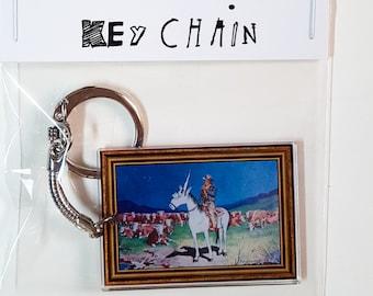 Einhorn-Land Art-Schlüsselanhänger