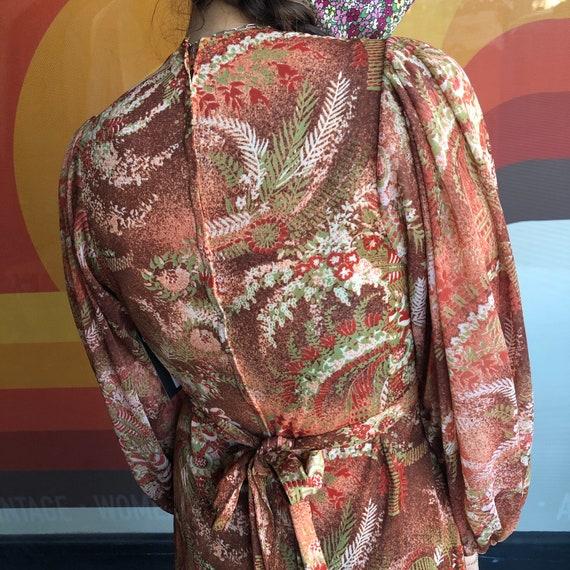 70's Fern Bishop Sleeve Dress - image 4