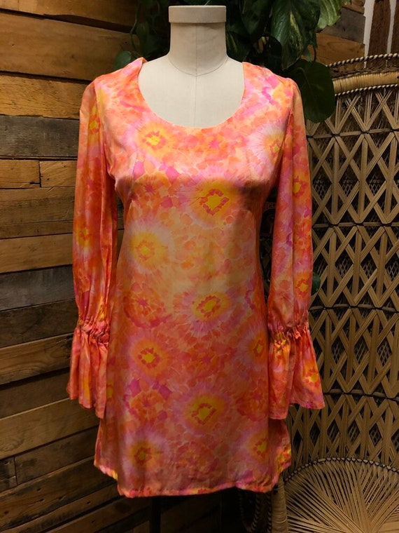 60's Handmade Tue Dye Mini Dress
