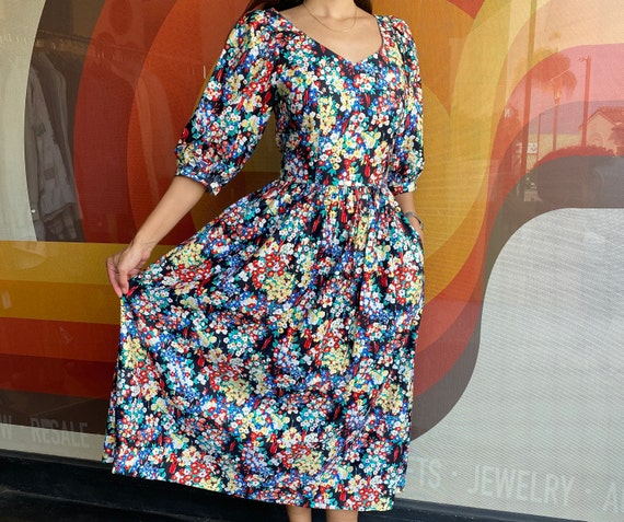 80's J. Christopher Puff Sleeve Floral Dress