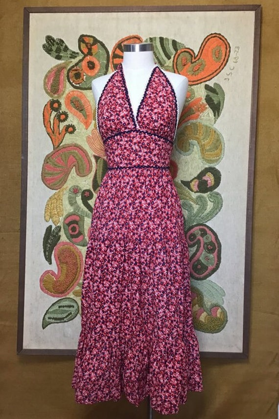 70's Cotton Halter Dress