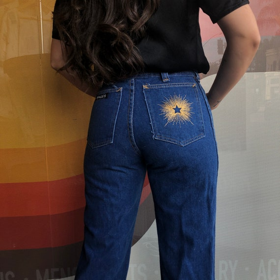 70's High Rise Denim and Star Burst Embroidered Po