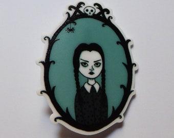 Wednesday Addams, handmade resin brooch.