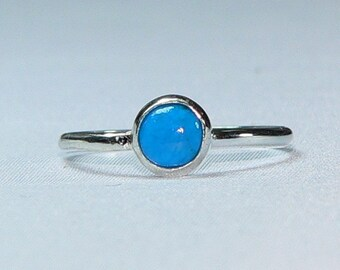 Sundance Tiny Little Pillow  Stacking Rings in Sterling Silver with Light Blue Calcedony Stone and Dainty Engraving