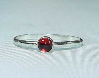 Carolina Sundance Tiny 4mm GARNET Stacking Ring   GARNET Stack Ring