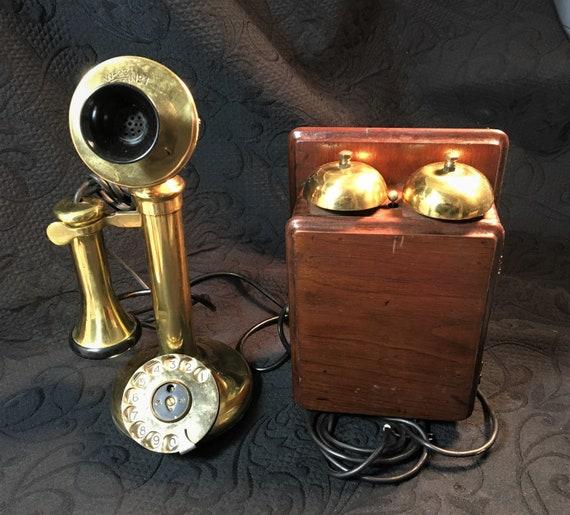 candlestick telephone wiring diagram antique brass candlestick telephone with wall ringer box etsy  antique brass candlestick telephone