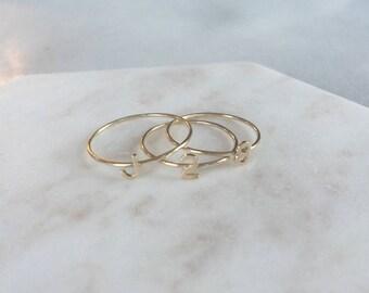 Tiny Letter Ring ~ 14K white gold * initial ring * 14k solid gold letter ring * alphabet ring * stacking initial ring * script initial ring