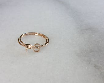 Tiny letter ring 14K solid rose gold * 14k solid gold initial ring * gold letter ring * initial ring * alphabet ring * stacking letter ring