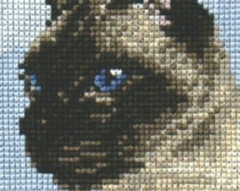 Siamese Cat (Seal Point) Cross Stitch Chart