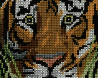Tiger counted cross-stitch chart