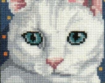Blue Eyed White Cat counted cross-stitch chart