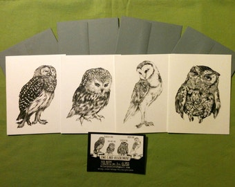 OWL Series: set of 4 cards with envelopes (Size A2)