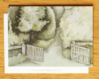 Garden Path - Art Postcard. Watercolour Illustration. Illustrated Stationary. Pen Pals
