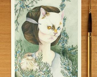 5x7 Under The Juniper Tree - Giclee Print. Fine Art Archival Print. Watercolor Illustration. Botanical. Juniper