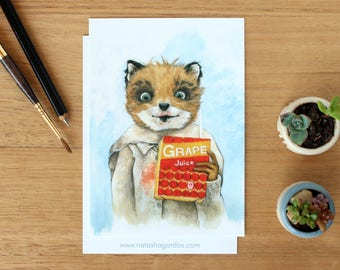Ash - Art Postcard. Watercolour Illustration. Fantastic Mr Fox. Wes Anderson Fan Art