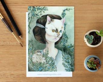 Under The Juniper Tree - Art Postcard. Watercolour Illustration. Stationary