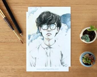 Infinite - Art Postcard. Watercolour Illustration. Dreamer. Clouds. Stationary. Pen Pal