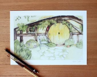 Hobbit Hole Giclee Print A4