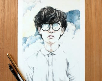 Infinite Giclee Print A4. Watercolour Illustration. Dreamer. Clouds.