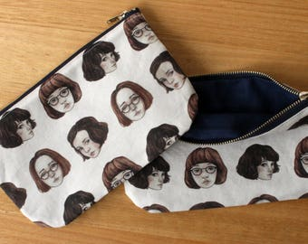 Zippered Pouch. Girl Pattern. Pink. Navy. Pencil Case. Makeup Bag