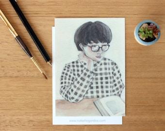 Lover Of Books 2 - Art Postcard. Watercolour Illustration. Reading. Stationary