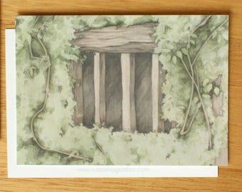 Art Postcard. Watercolour Illustration. Stationary.